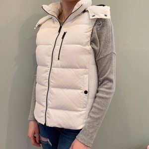 Armani Exchange white puffy vest with fur trim